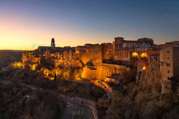 Tuscany, Pitigliano medieval village panorama sunset. Italy - Stock Photo - Images