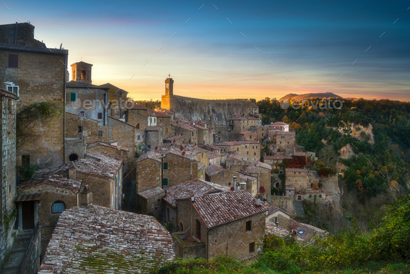 Tuscany, Sorano medieval village panorama sunset. Italy - Stock Photo - Images