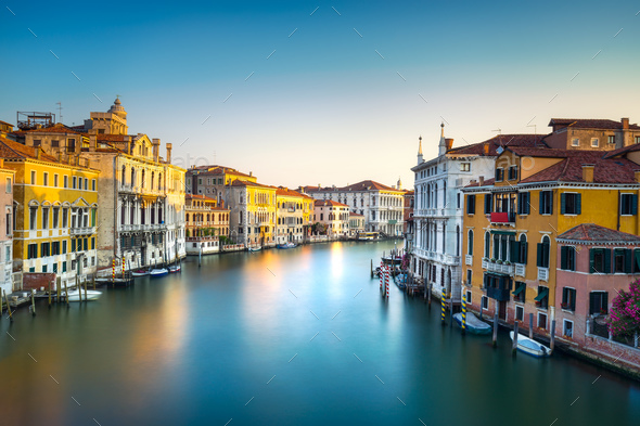 Venice grand canal or Canal Grande, view from Rialto bridge. Ita - Stock Photo - Images