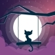 Cat Illustration. Cartoon Night Landscape. - GraphicRiver Item for Sale