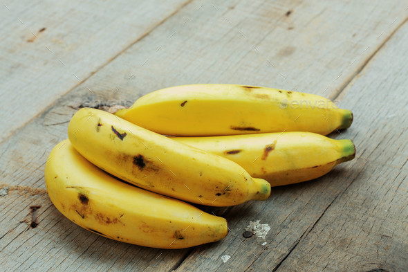 Banana of ripe on wood - Stock Photo - Images