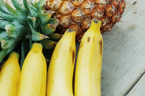 Banana on wooden - Stock Photo - Images
