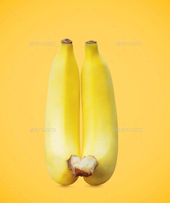 Banana on yellow background - Stock Photo - Images