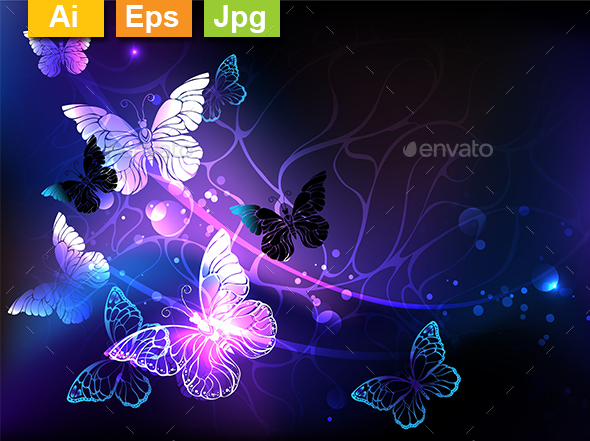 Background with Night Butterflies - Backgrounds Decorative