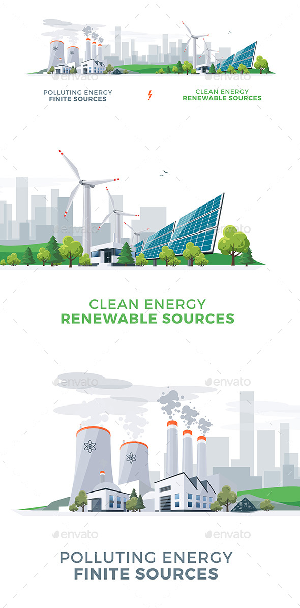 Clean and Polluting Power Stations - Technology Conceptual