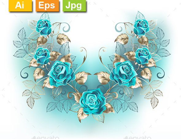 Symmetrical Composition with Turquoise Roses - Flourishes / Swirls Decorative