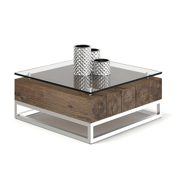 Wood and Glass Coffee Table 3D Model - 3DOcean Item for Sale