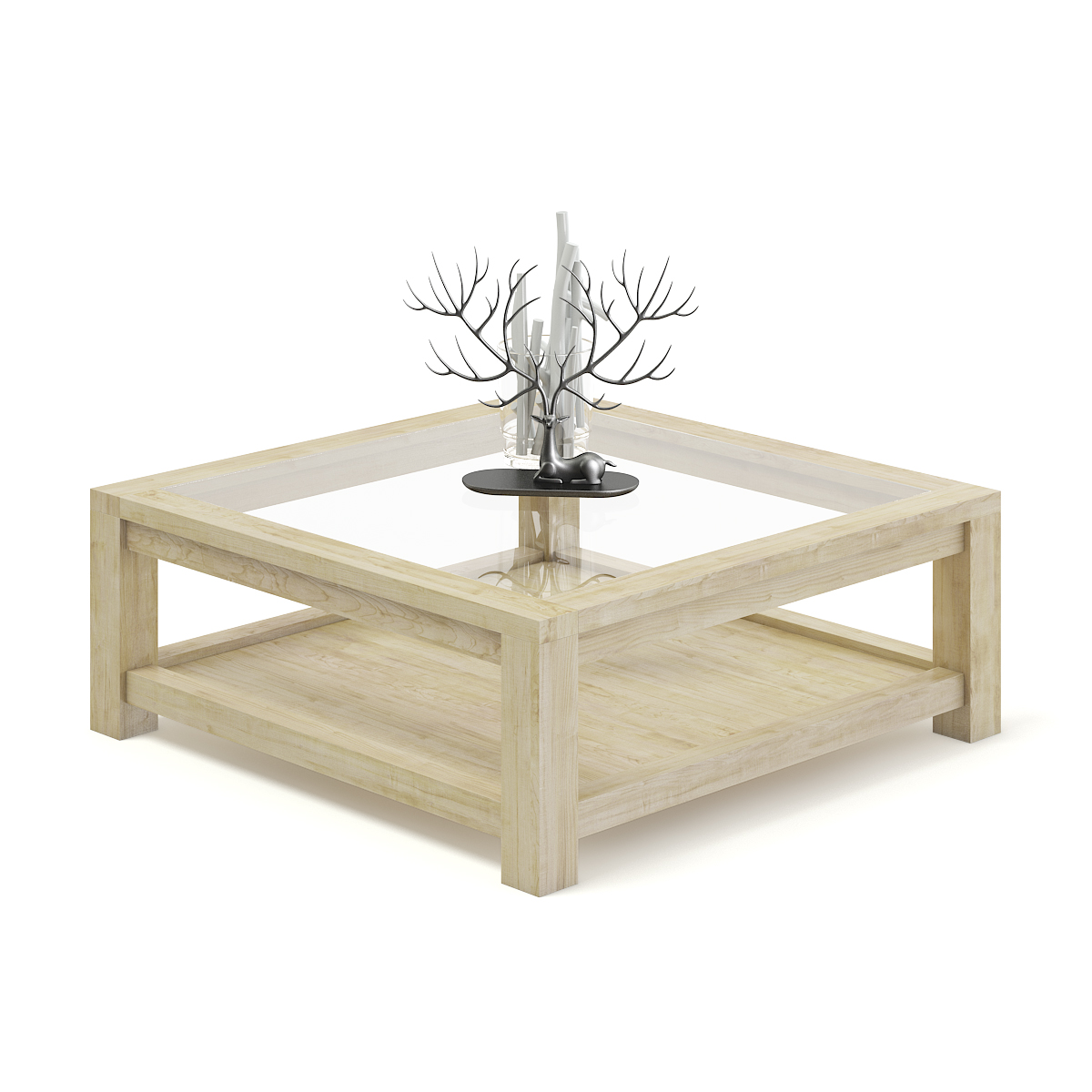 Picture of: Wood And Glass Coffee Table 3d Model By Cgaxis 3docean