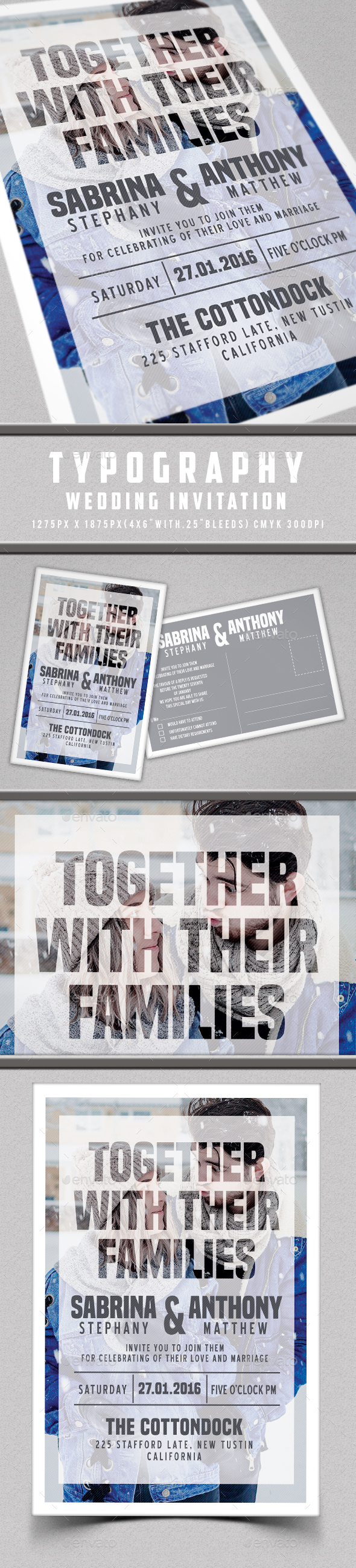 Typography Wedding Invitation - Invitations Cards & Invites