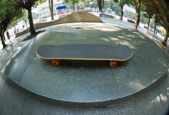Skateboard at city skatepark - Stock Photo - Images