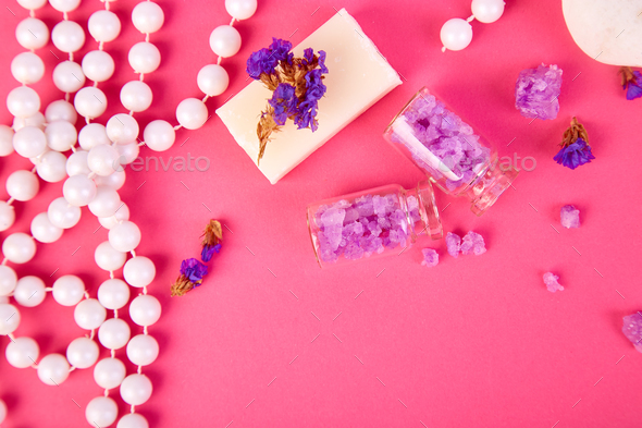 Spa concept. Aromatic candles, soap beauty and Spa cosmetic - Stock Photo - Images