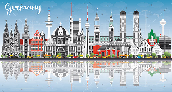 Germany City Skyline with Gray Buildings, Blue Sky and Reflections. - Buildings Objects