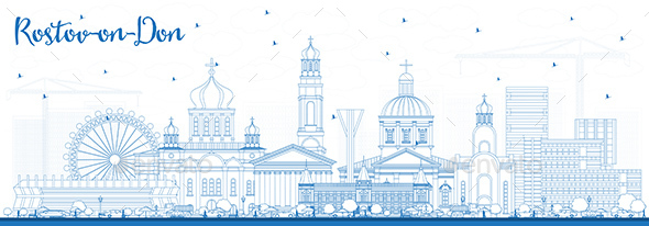Outline Rostov-on-Don Russia City Skyline with Blue Buildings. - Buildings Objects
