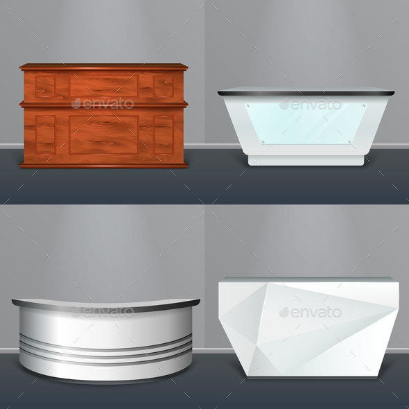 Reception Desk Modern Realistic Design - Buildings Objects
