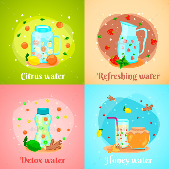 Detox Water 4 Flat Icons - Backgrounds Decorative