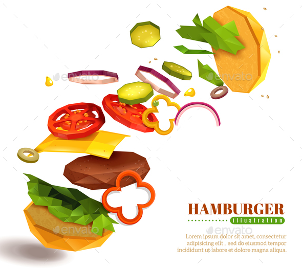 3D Flying Hamburger Illustration - Food Objects
