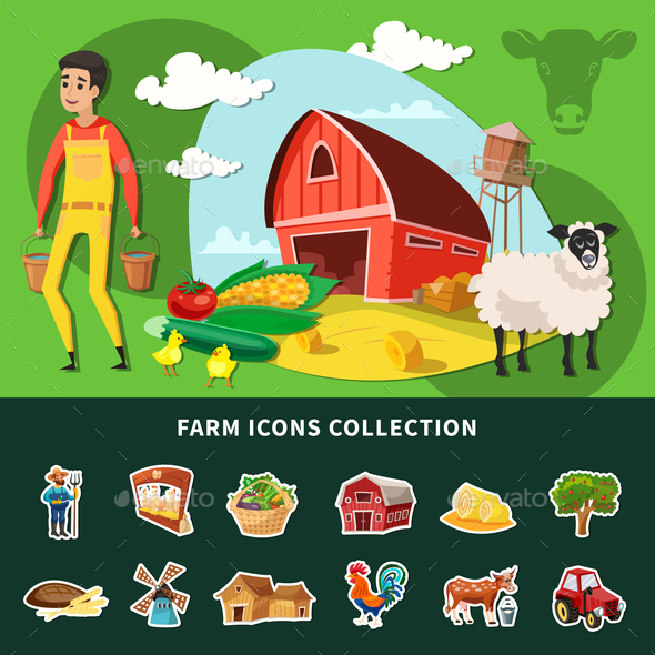 Cartoon Farm Composition - Food Objects
