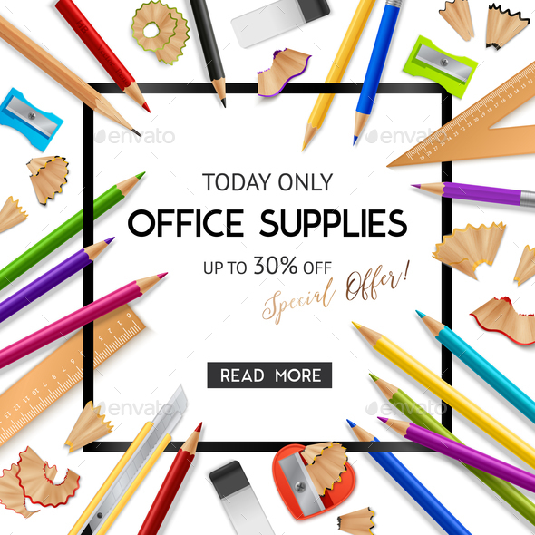 Office Supplies Realistic Background - Patterns Decorative