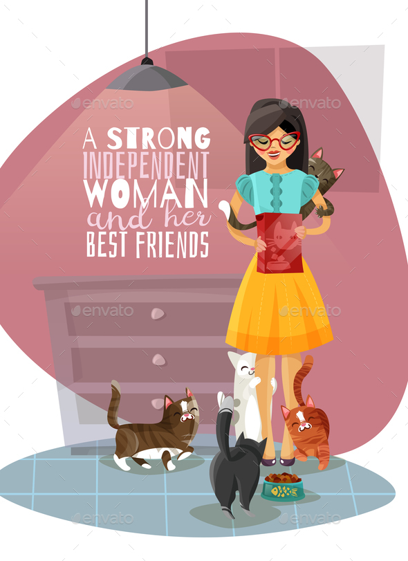 Young Lady Cats Illustration - People Characters