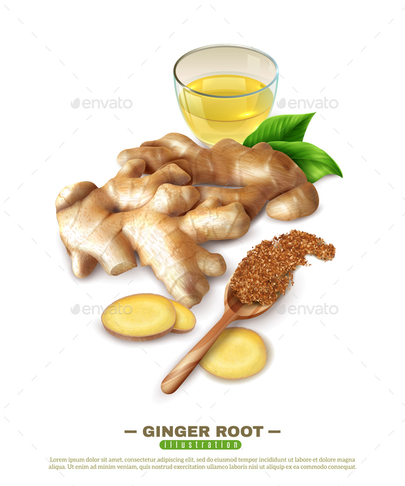 Ginger Root 3D Composition - Food Objects