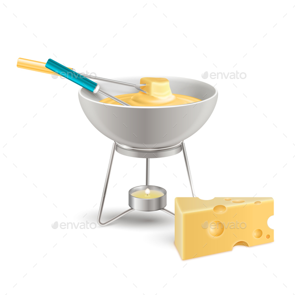 Cheese Fondue Realistic Composition - Food Objects