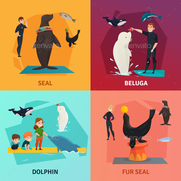 Dolphinarium Show Concept Icons Set - Animals Characters