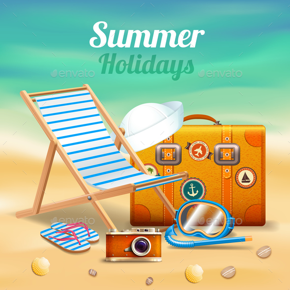 Beautiful Summer Holidays Realistic Composition - Seasons/Holidays Conceptual