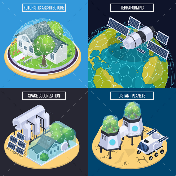 Terraforming Isometric Design Concept - Industries Business