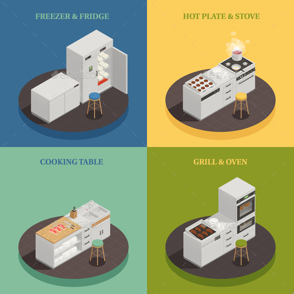 Kitchen Equipment 2x2 Design Concept - Food Objects