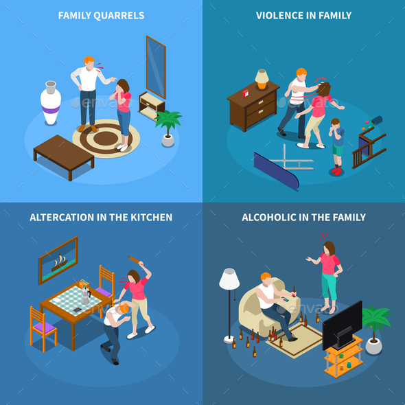 Family Problems Isometric Design Concept - People Characters