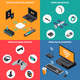 Wireless Electronic Devices Isometric Concept