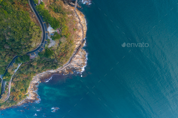 Aerial of coast landscape - Stock Photo - Images