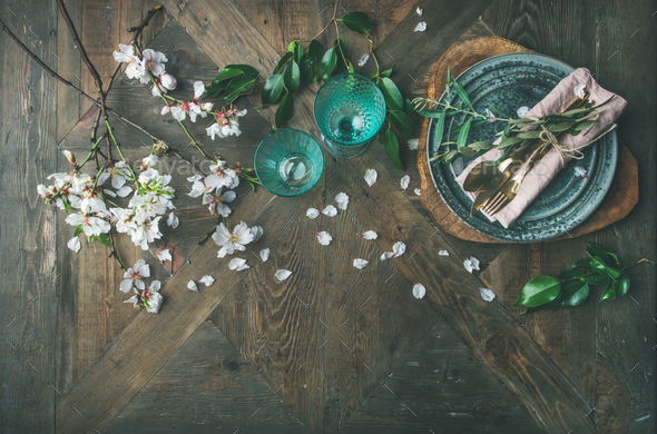 Flat-lay of Spring Easter Table setting with almond blossom flowers - Stock Photo - Images