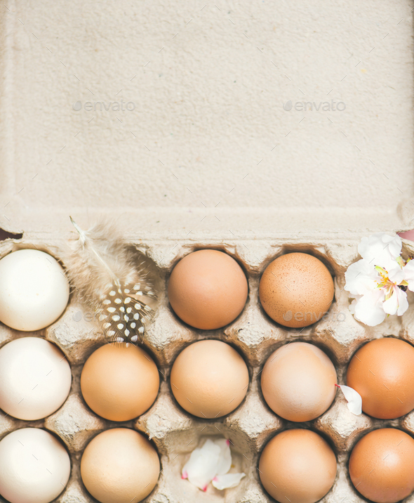 Natural colored eggs in box for Easter,vertical composition - Stock Photo - Images