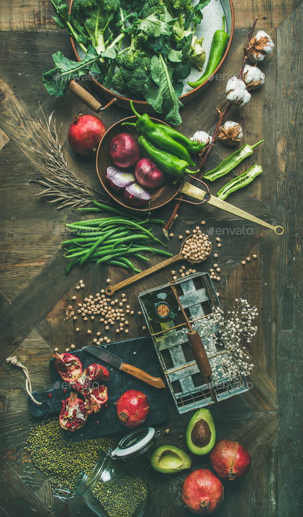 Winter vegetarian or vegan food cooking ingredients, vertical composition - Stock Photo - Images
