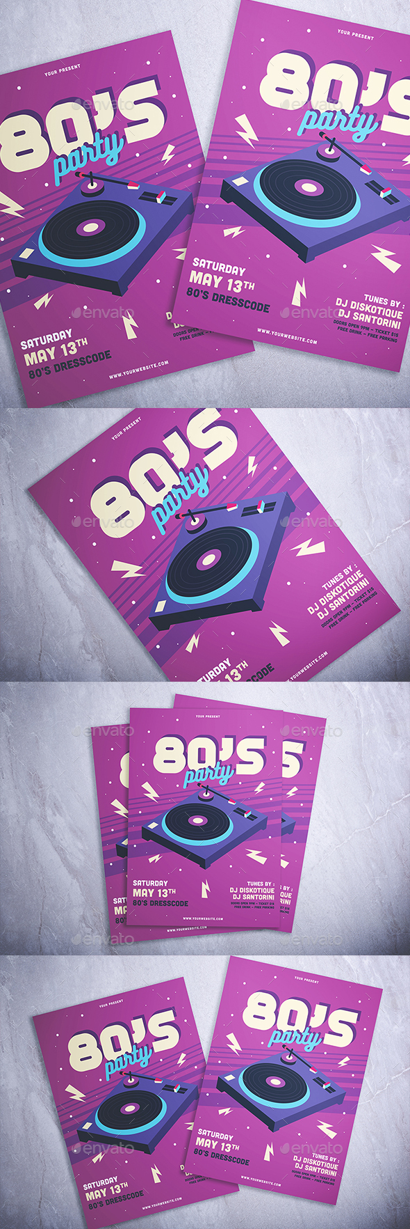 80's Party Flyer - Flyers Print Templates