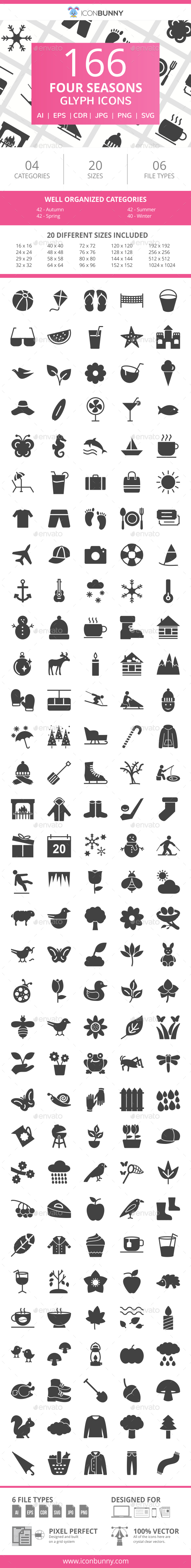 166 Four Seasons Glyph Icons - Icons