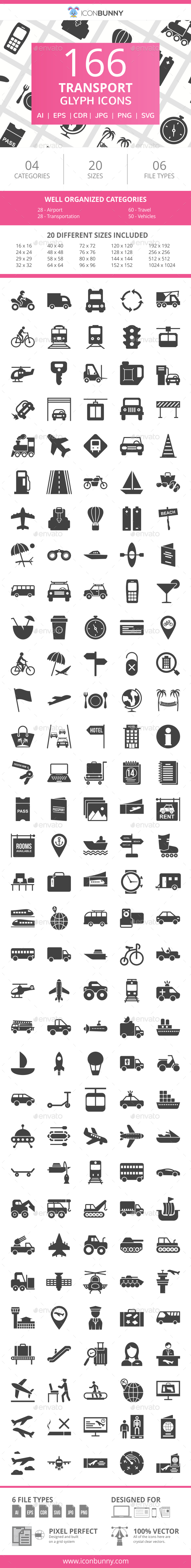 166 Transport Glyph Icons - Icons