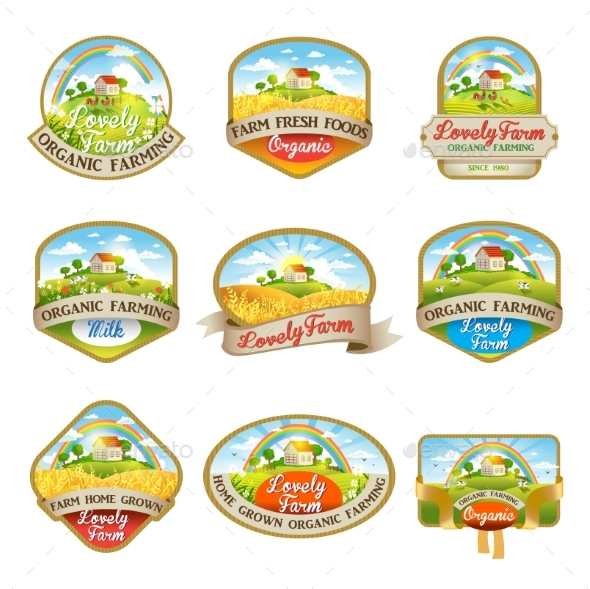 Labels with the Image of a Lovely Farm - Food Objects