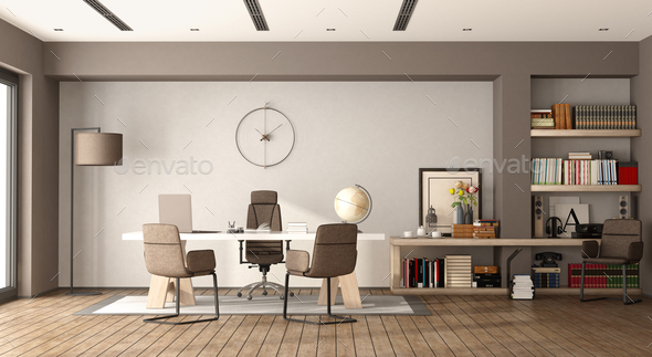 White and brown modern office - Stock Photo - Images