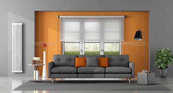 Gray orange living room - Stock Photo - Images