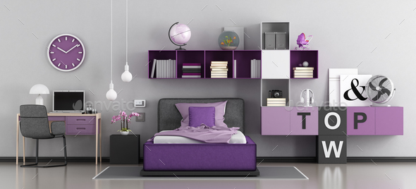 Modern bedroom for girl - Stock Photo - Images