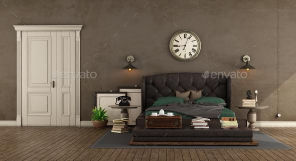 Retro master baedroom - Stock Photo - Images