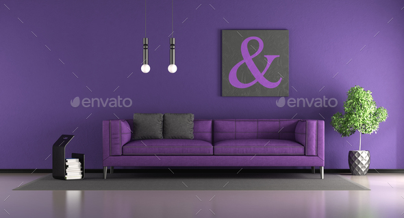 Purple living room - Stock Photo - Images