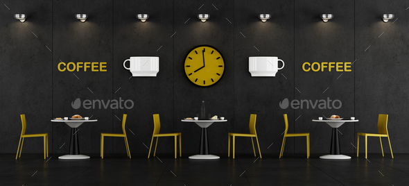 Black and yellow coffee bar - Stock Photo - Images