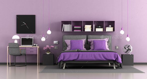 Purple modern master bedroom - Stock Photo - Images