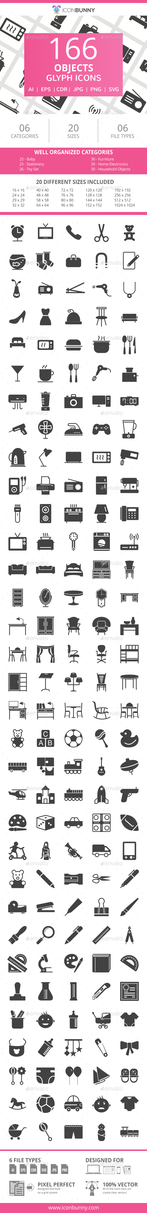 166 Objects Glyph Icons - Icons