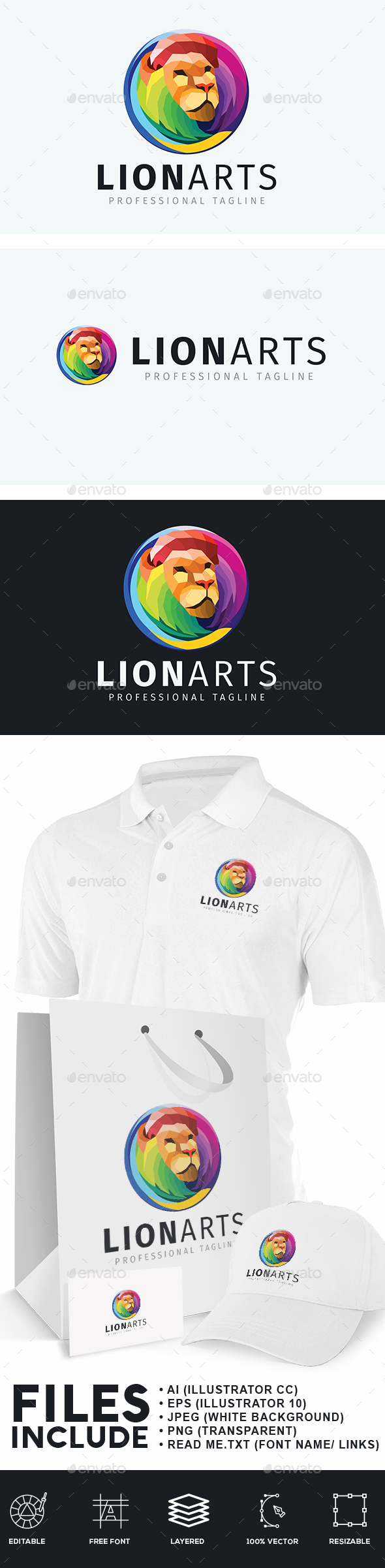Artistic Lion Logo - Animals Logo Templates