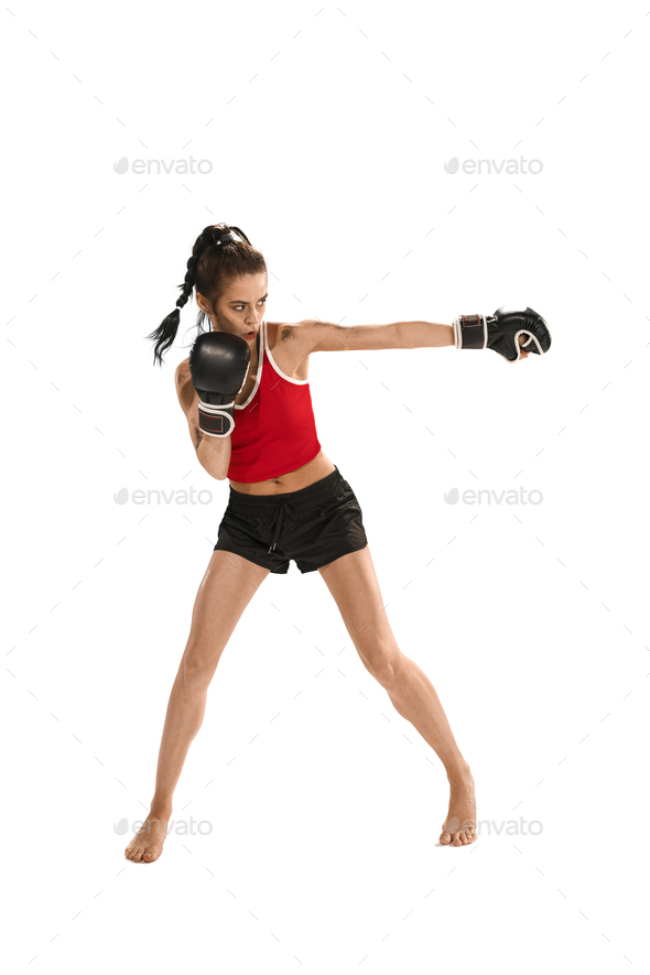 Fit beautiful woman with the boxing gloves isolated on white background - Stock Photo - Images