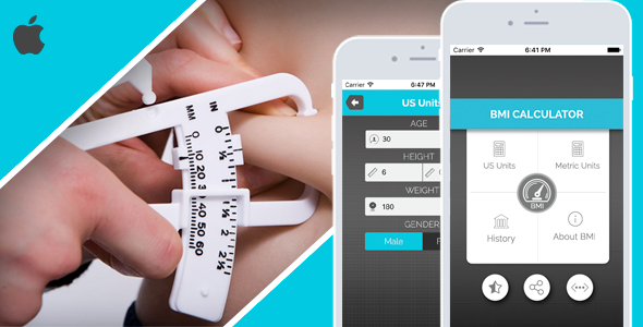 BMI Calculator for iOS - Full Application with PSD - CodeCanyon Item for Sale